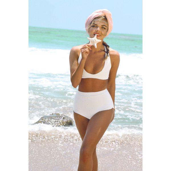 Reversible Vintage Inspired Neoprene Bikini ($119) ❤ liked on Polyvore featuring swimwear, bikinis, black, women's clothing, reversible bikini top, high waisted bikini swimwear, bikini top, neoprene bikini and high waisted bikini