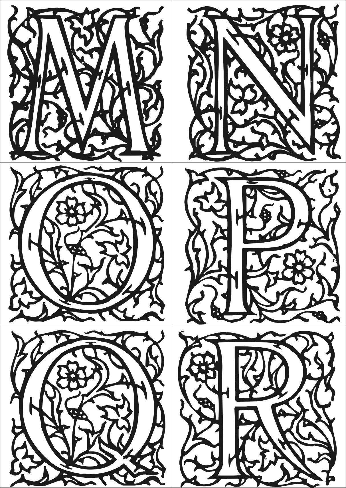 Coloriage Enluminure Moyen Age Enluminure Alphabet