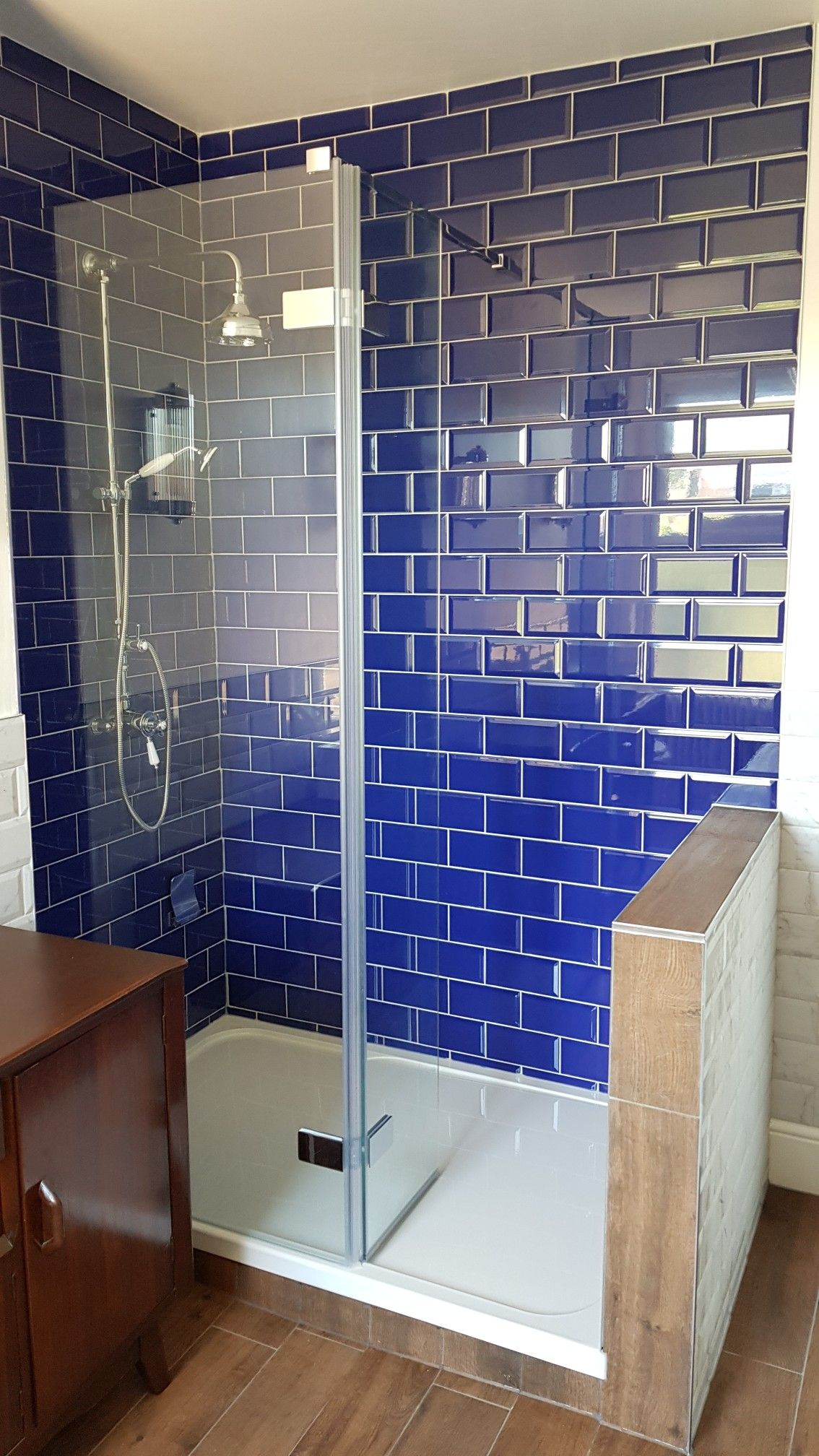 Walk In Shower Blue Metro Tiles Half Wall
