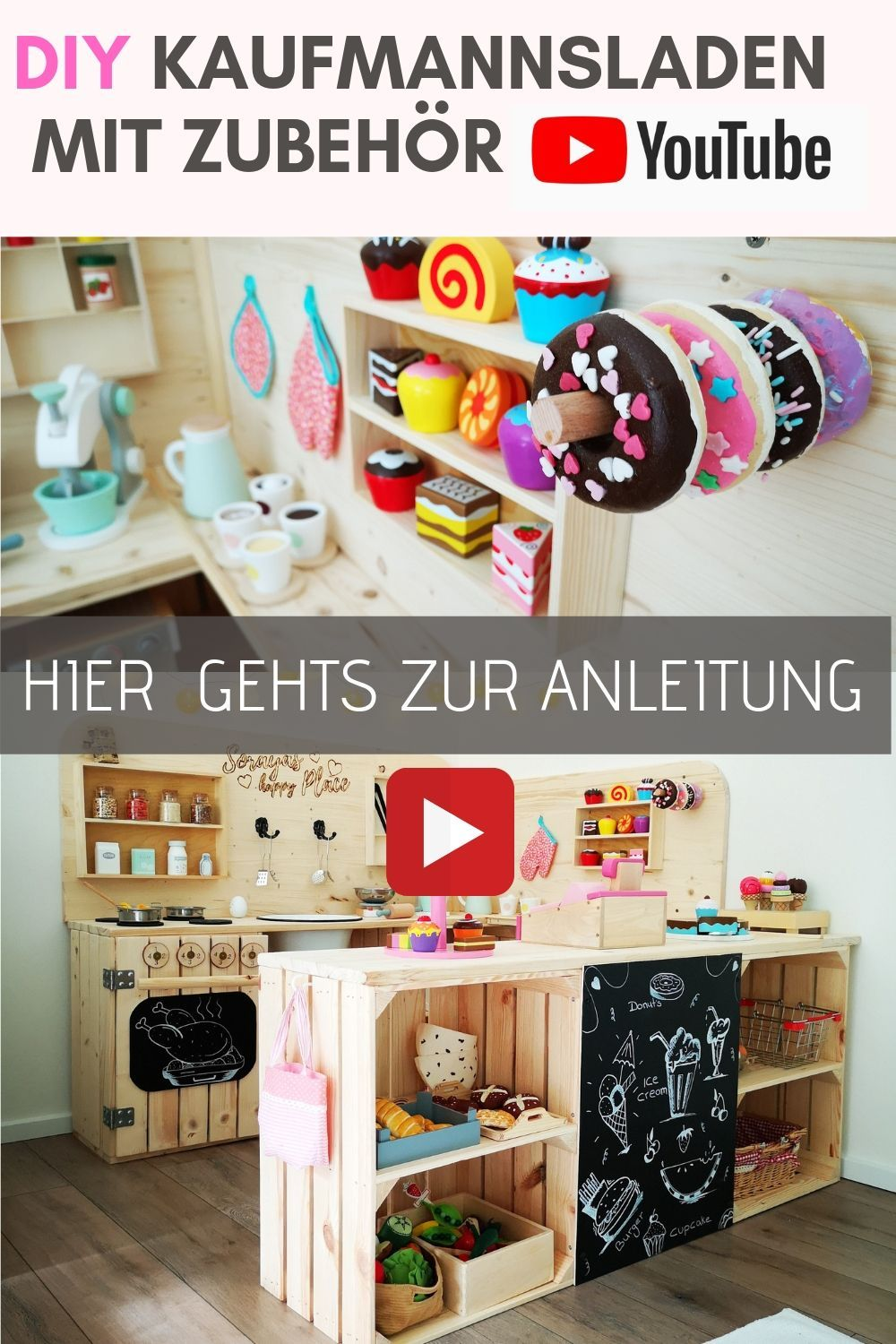 Photo of DIY shop with accessories – shop – play kitchen – children's kitchen made of wood – fruit crate furniture