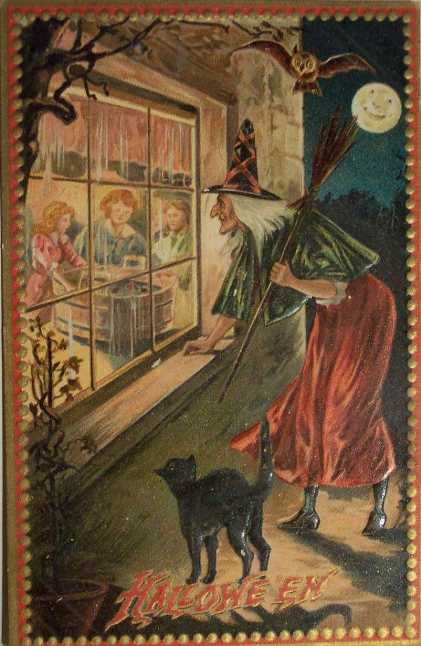 antique vintage halloween postcard anthropomorphic moon black cat witch looking through window - Halloween History Witches