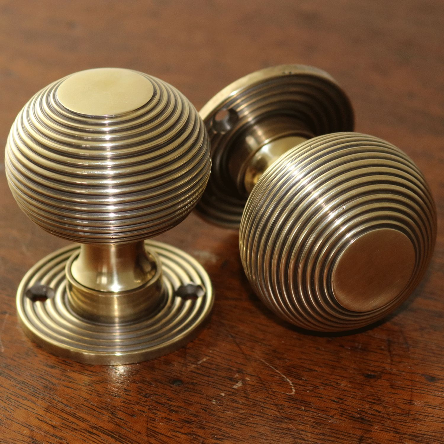 Brass Beehive Door Knobs, turned from a solid brass bar and then ...