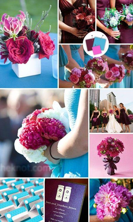 Maroon Aqua And Bubble Gum Pink Wedding Color Scheme