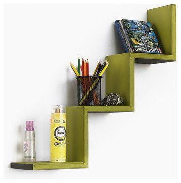Moss Green Ladder Shaped Leather Shelf Bookshelf Floating Shelf Tropical Wall Shelves Staircase Shelves Cool Shelves Shelves