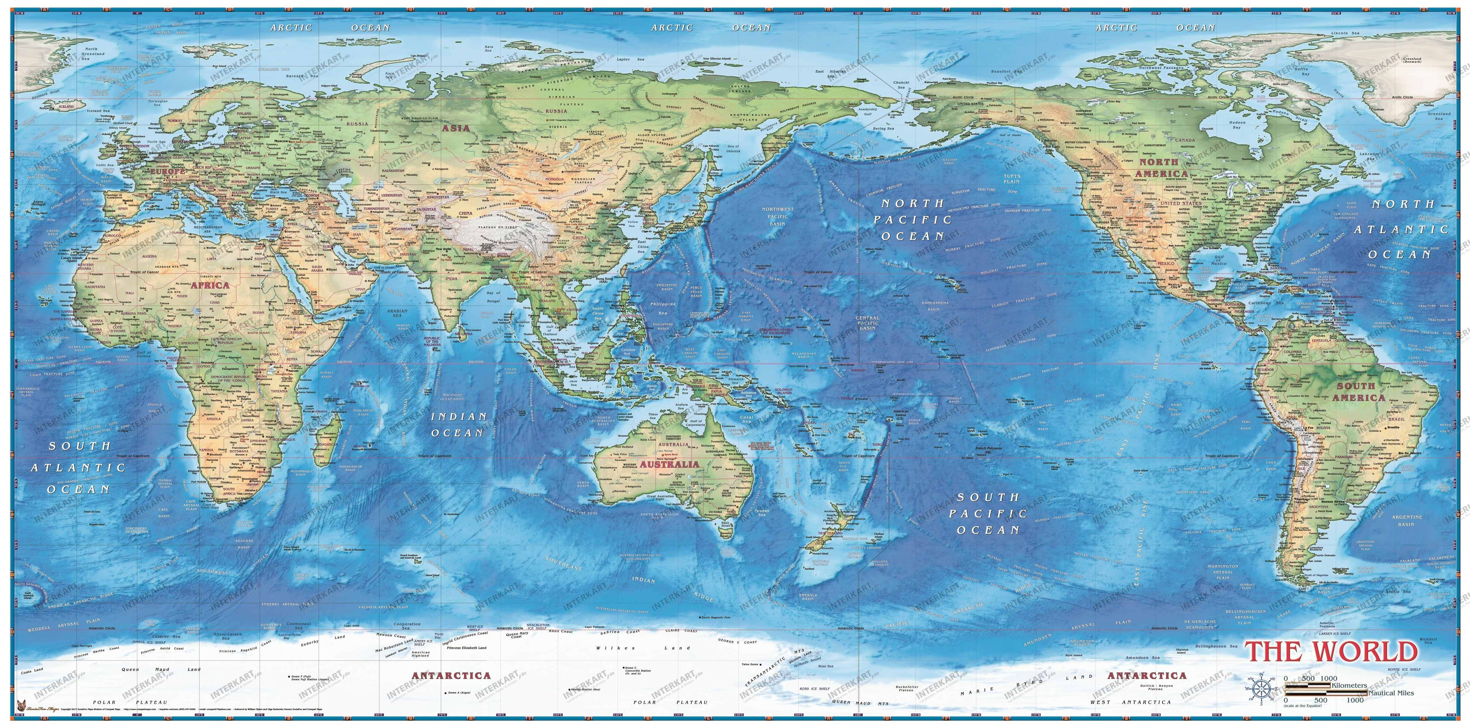 World Map physical Pacific centered | Wall maps, World, Map