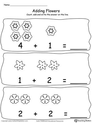 adding numbers with flowers sums to 5 3 4 printable maths worksheets printable math. Black Bedroom Furniture Sets. Home Design Ideas
