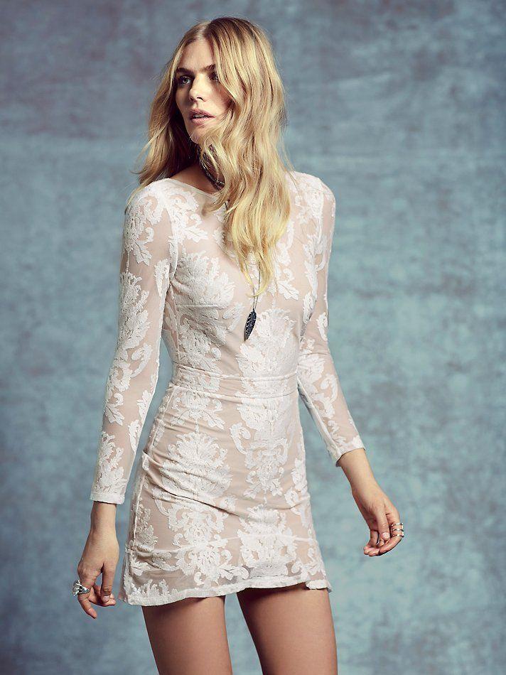 Night To Remember Mini   Illusion mini dress with allover ...