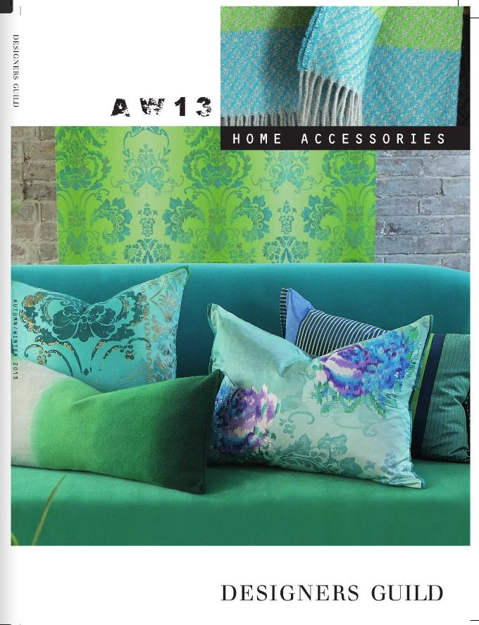 Designers Guild Fall Collection 2013  in shades of Emerald Green and Teal Blue. Designers Guild Fabrics and wallpapers can be purchased through www.janehalldesign.com