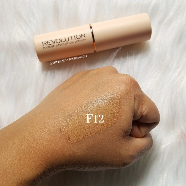 Makeup Revolution Fast Base Stick Foundation Review and Swatches in F12 - www.thebeautyjournalsxo.com - IG: @thebeautyjournalsxo