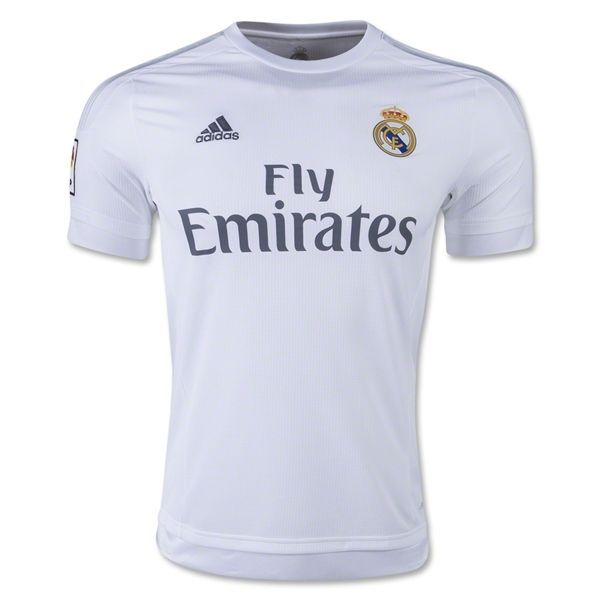 best service 2b012 9dd44 adidas Men's Real Madrid 15/16 Home Jersey White/Clear Grey ...