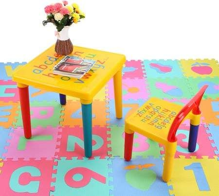 Home Wooden Table Chairs Wooden Childrens Table Alphabet Print