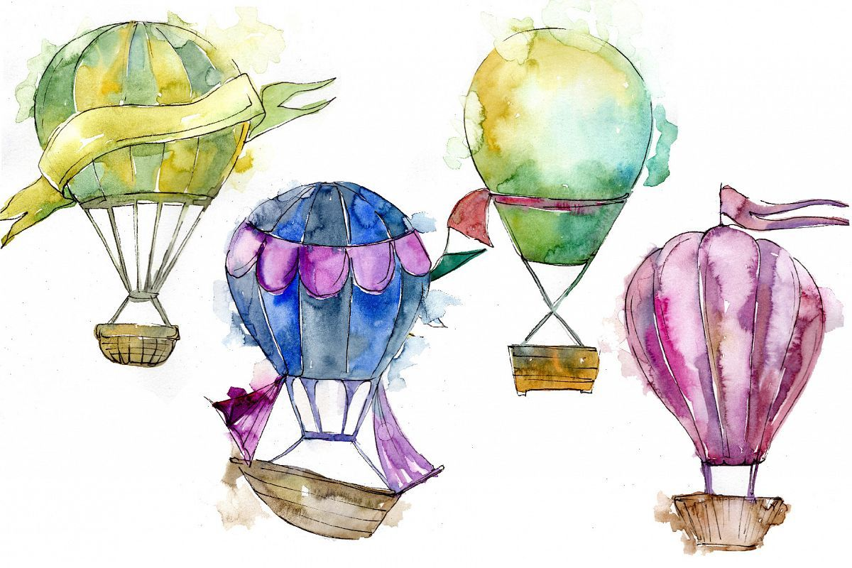 Watercolor Holiday Hot Air Balloon Png Set Air Balloon Balloons