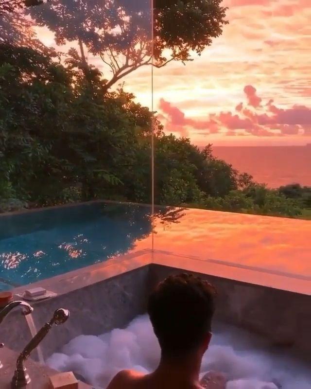Amazing sunset views in Seychelles