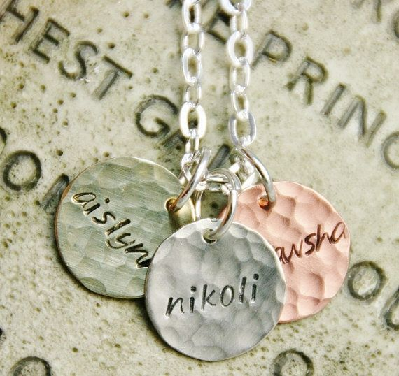 Mom Necklace  1/2 in Sterling Copper and Brass by jjewelry1, $23.00  @Nicole-Bob Barker