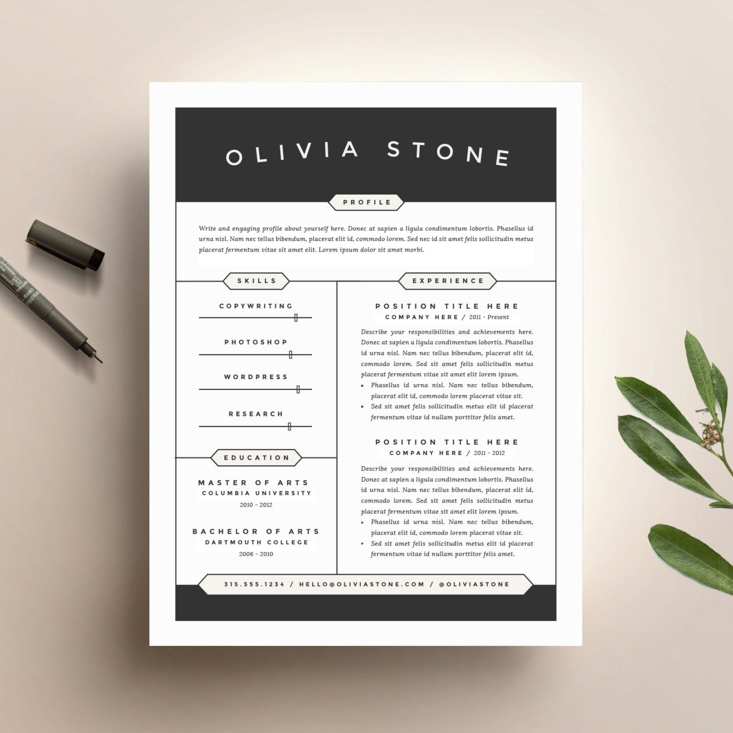 Free Artistic Resume Templates Creative Resume Template And Cover Letter Template For Word  Diy
