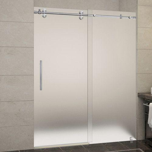"""Langham 60"""" x 75"""" Single Sliding Frameless Shower Door"""