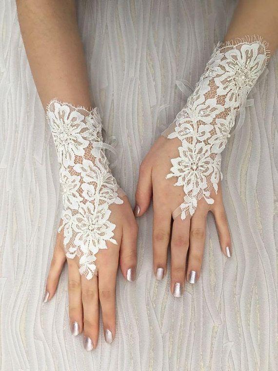 Ooak Ivory Bridal Gloves Unique Wedding Lace Handmade Bride Glove Fingerless