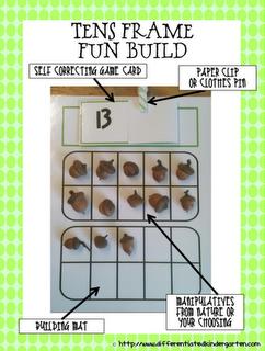 Self-correcting Tens Frame Fun Freebie.  www.prekandksharing.blogspot.com