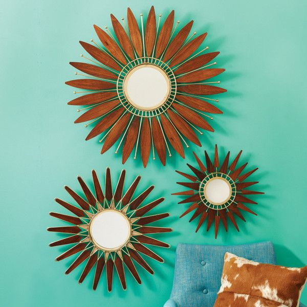 Tozai Home Set Of 3 Sunburst Mid Century Wall Mirrors Tozaihome Interiordesign