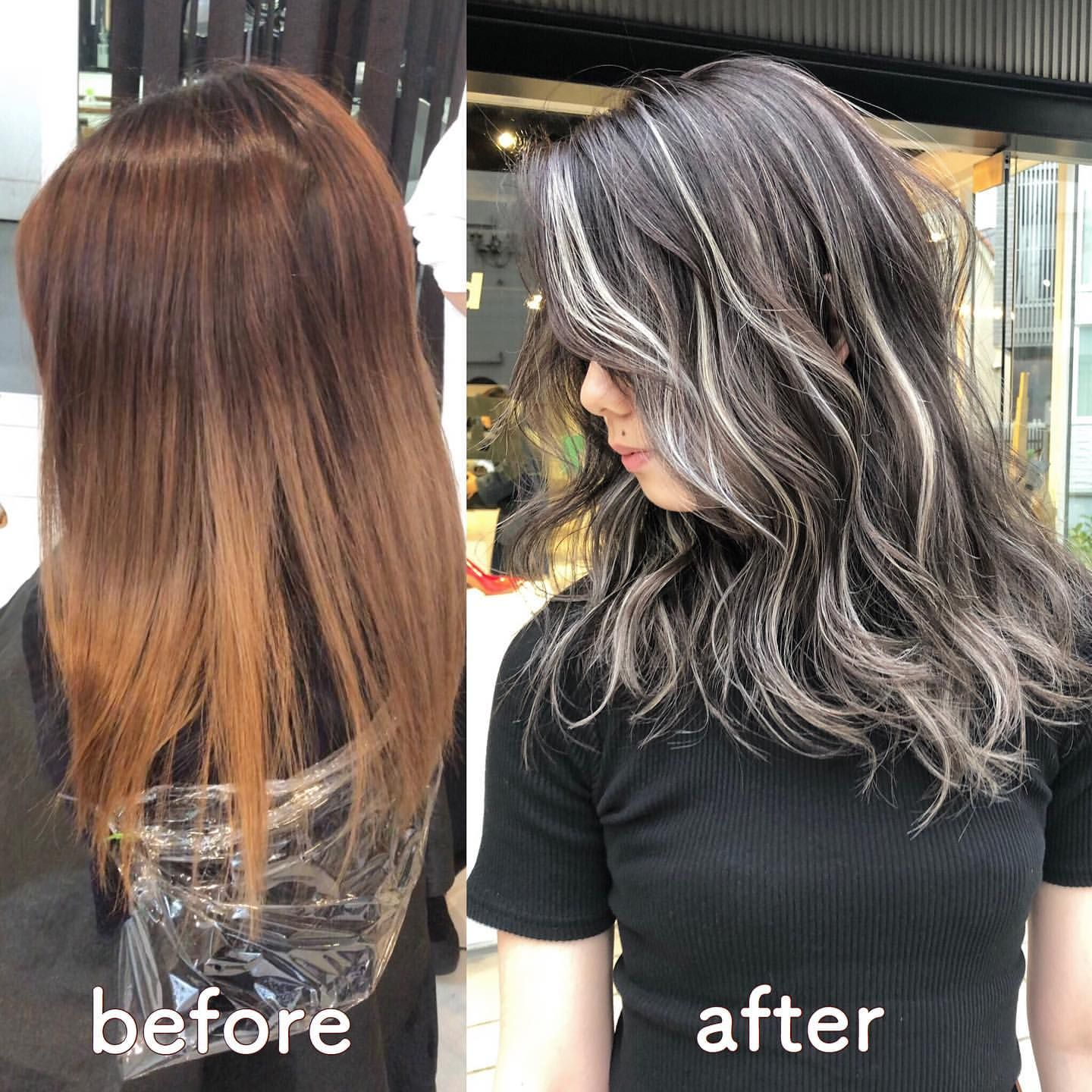 Instagram Posts At アクア 表参道 Acqua Omotesando Picdeer Ash Blonde Highlights On Dark Hair Black Hair Silver Highlights Dark Hair With Highlights