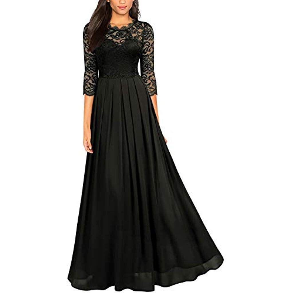 Miusol Damen Elegant Halbarm Rundhals Vintage Spitzenkleid