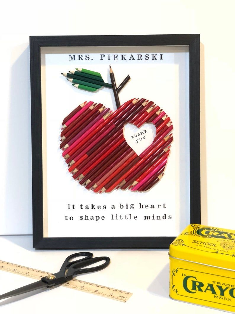 Apple teacher gift framed red colored pencil personalized
