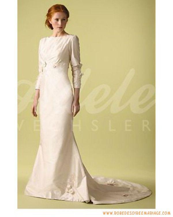 Robe de mariée rétro avec manhe longue