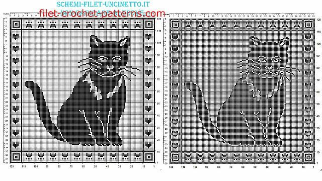Free Filet Crochet Pattern Pillow With Cat 120 Squares Free Filet