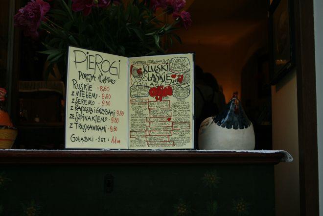 The hand-written menu at Gospado Koko in Krakow, Poland.  They follow the seasons, and the salads change all the time!  Best Eats: Gospado Koko | Emily's Guide to Krakow.