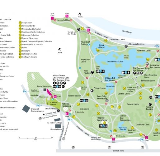Melbourne royal botanic gardens map garden ftempo for Gardening tools melbourne