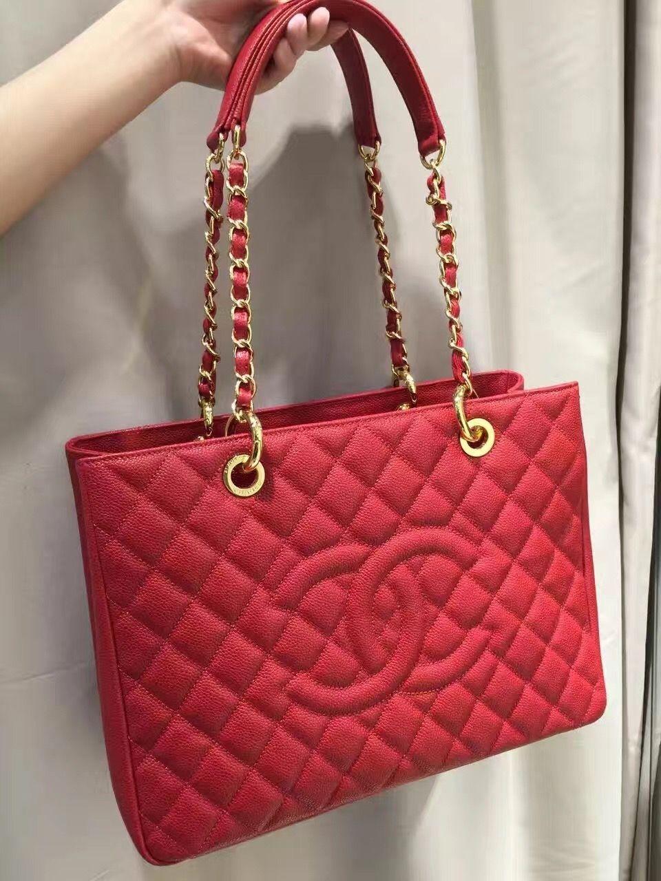 cab7b45e668 Authentic Quality 1:1 Mirror Replica Chanel Grand Shopping Tote Red Caviar  Silver Hardware A50995