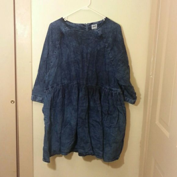 ASOS Denim Dress ASOS brand, US size 12, Fits XL-1X, Oversized fit, 100 % cotton,  Dark acid wash denim, Zipper up the back. Never been worn. Message if you hsve any questions :) ASOS Dresses Mini