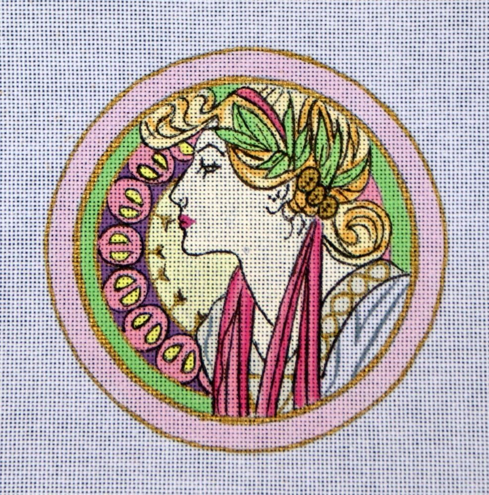 Mucha I Hand Painted Needlepoint 24 Count Canvas