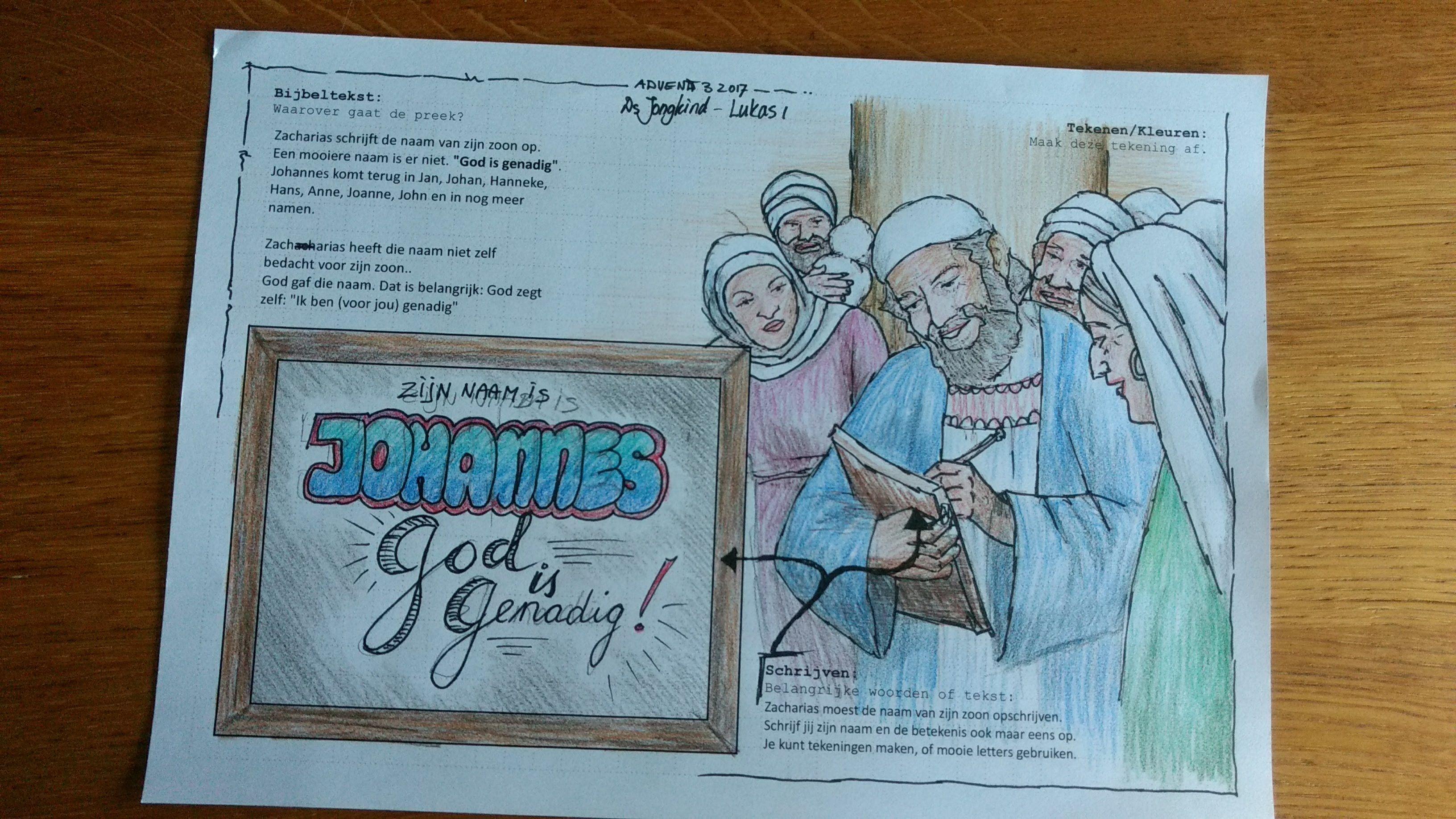 Preeknotities Lukas 1 Johannes God Is Genadig Preekjournaling Kleurplaten Christelijk