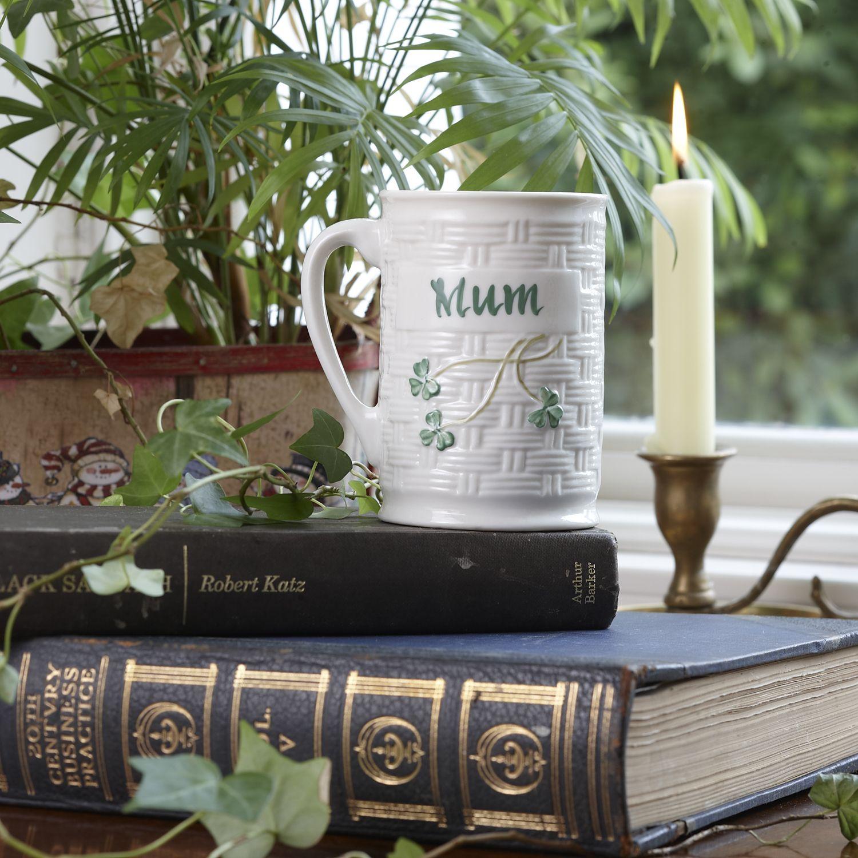 Belleek mum personalized mug irish pottery pottery