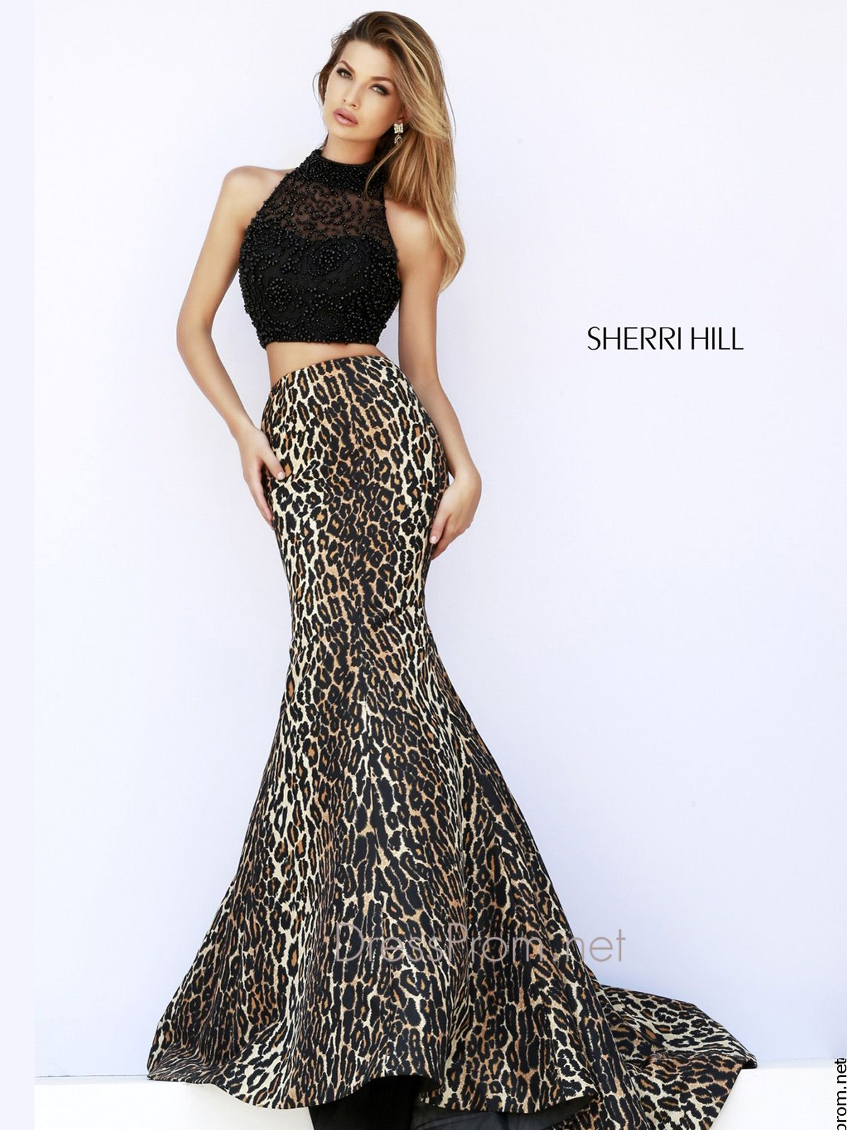 Two piece leopard Print Mermaid Sherri Hill Prom Dress 32105 ...
