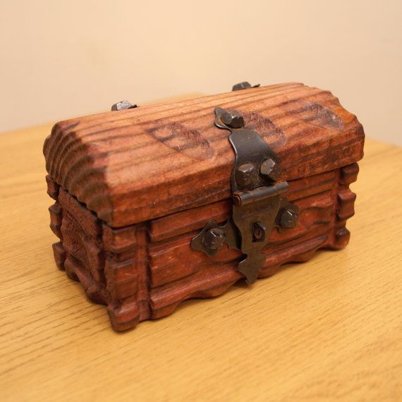 Wood Vintage Jewellery Box   Hinged Small Trunk by UKAmobile