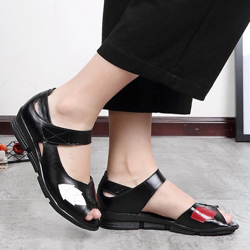 b4b9397019 Women Genuine Leather Hook Loop Peep Toe Flat Sandals | Products in ...