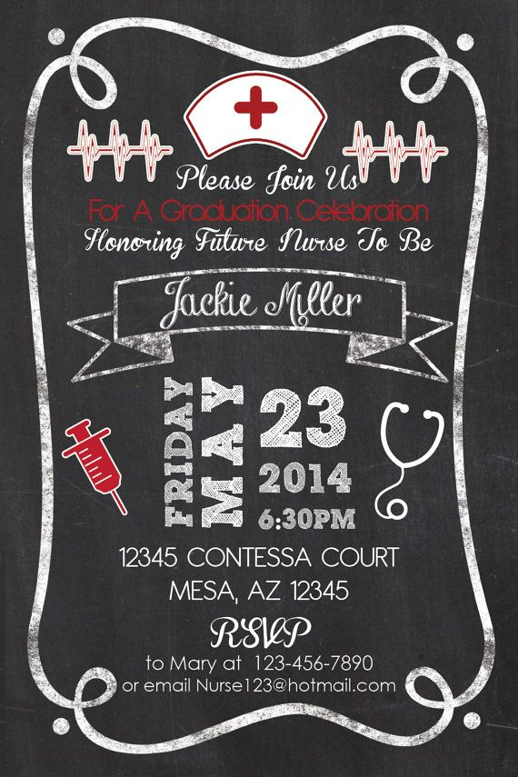 Nurse Graduation Party Invitation Chalkboard Style 4x6 Or