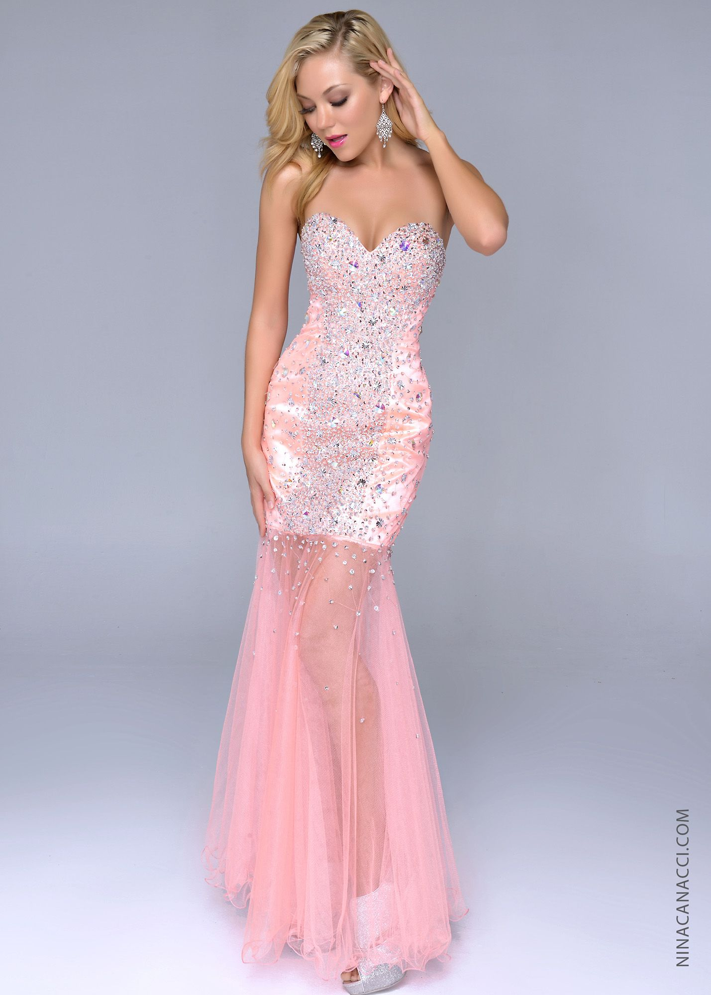 Nina canacci peach strapless beaded prom dresses online