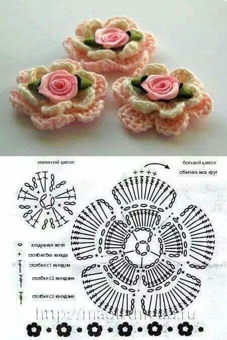Pin von Zozo Attas auf كورشيه   Pinterest   gehäkelte Blumen, Strick ...