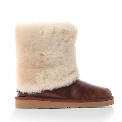 2816d7cf1e6 Ugg Patten Womens 1008823-CHE Chestnut Leather Sheepskin Cuff 7 ...