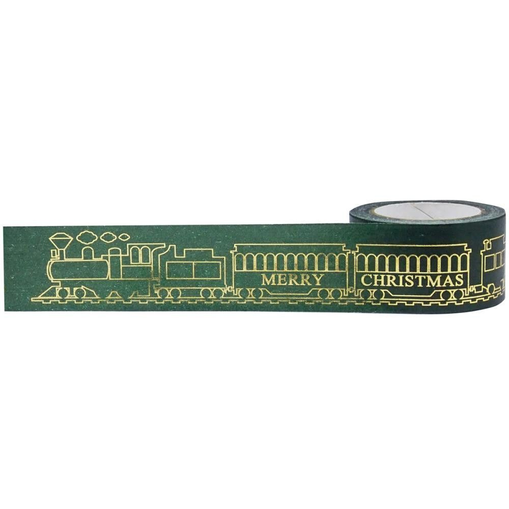 Little B: 25mm Wide Merry Christmas Locomotive Green & Gold Washi Tape - with Cutter