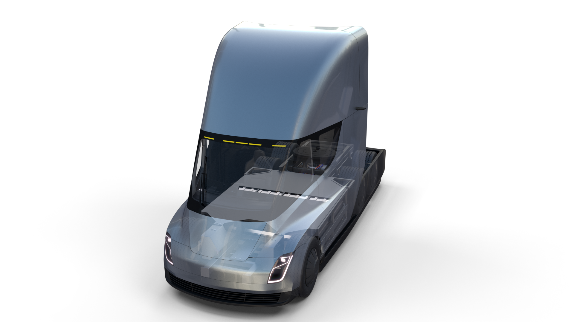 Tesla Truck With Chassis And Interior Silver Tesla Trucks Tesla Semi Truck