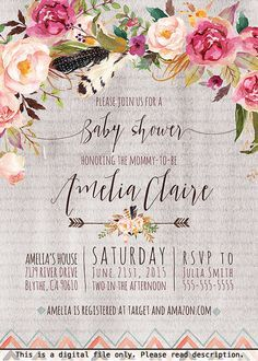 Boho Baby Shower Invitation For Girls Watercolor Flowers Arrow Hipster