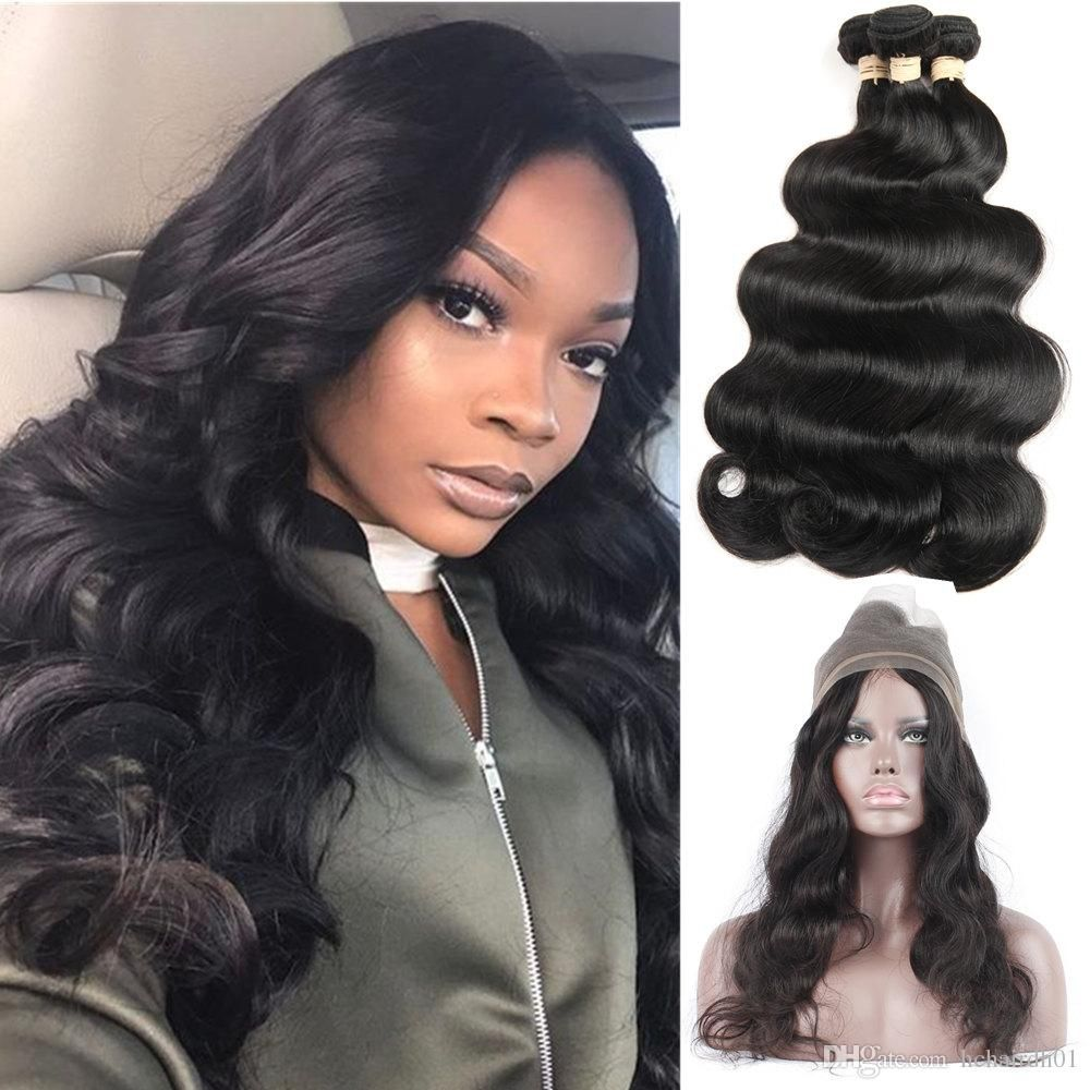 brazilian 360 lace frontal closure with bundles body wave