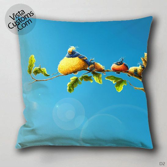 plump birds branch sun art cartoon Pillow Case, Chusion Cover ( 1 or 2 Side Print With Size 16, 18, 20, 26, 30, 36 inch )