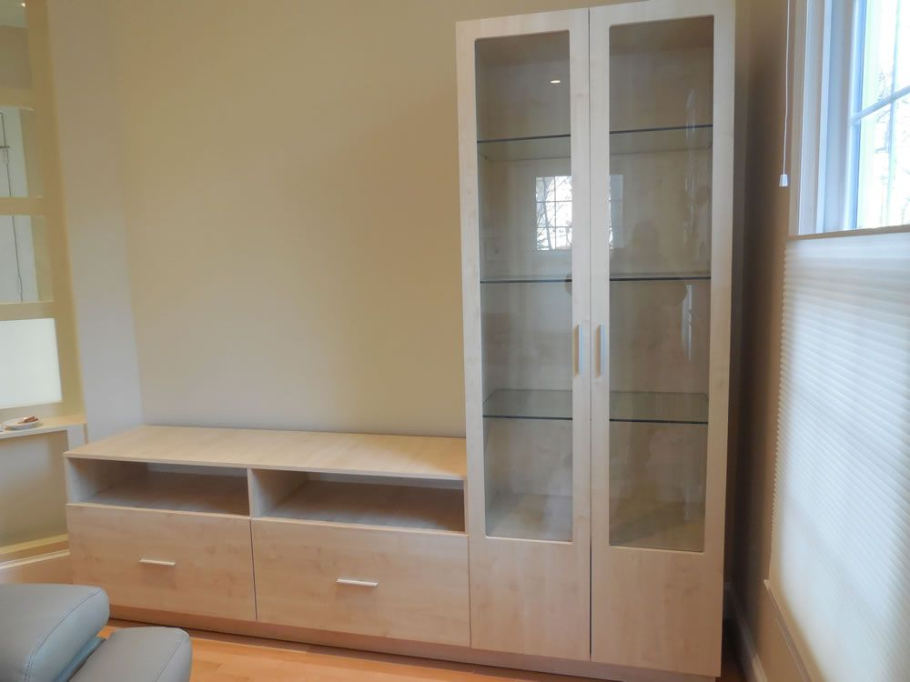 L Shaped Wall Unit In Ash Matte With Glass Doors Wall Unit