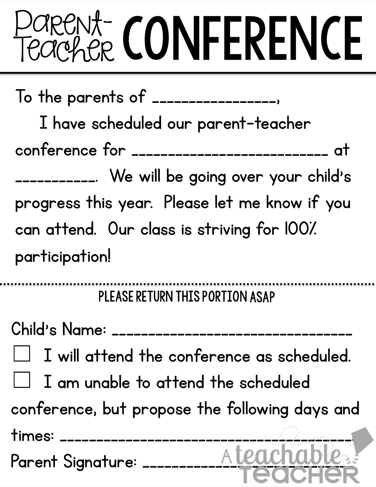 parent teacher conference forms teach pinterest teacher