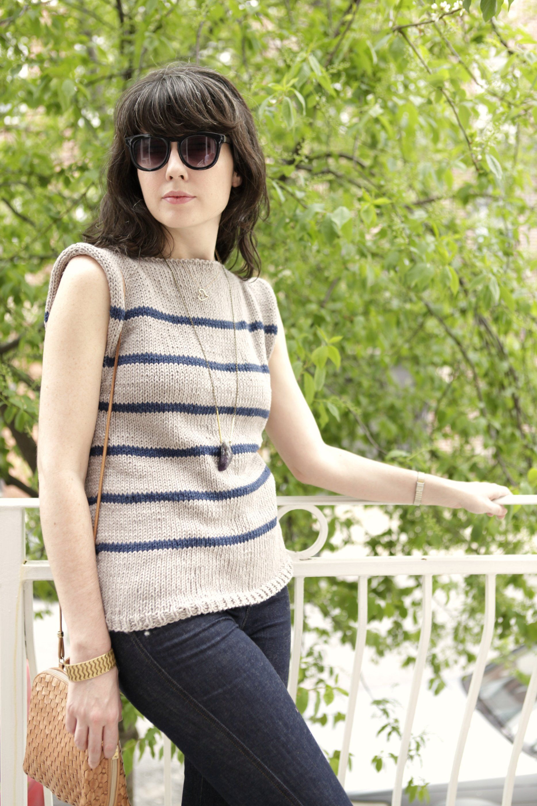 Free knitting pattern womens short sleeve knits striped a common thread free sweater pattern no sew striped breathless sweater bankloansurffo Image collections